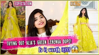 I Tried ALIA'S GREEN LEHENGA from ETHNICROOP.COM| Is it Worth The Price? 🤔Shopping Lehengas Online