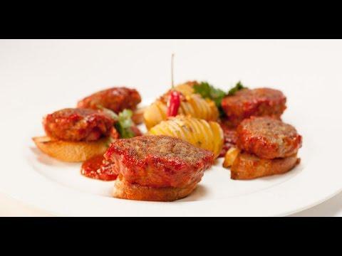 Биточки из куриных желудков с острым картофелем   Птица. От филе до фарша