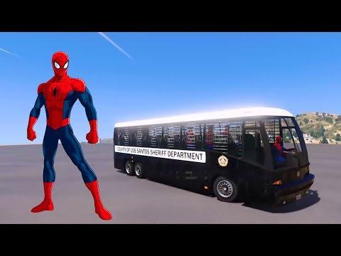 Spiderman Disney Cars Lightning McQueen Police Bus  -TomKidsCartoon