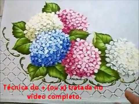 Folha da Hortênsia - Hydrangeas - Pintura em Tecido - Now with English subtitles Music Videos