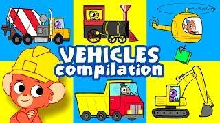 Trucks for Kids | construction truck and cars cartoon | bulldozer vehicles video | Club Baboo