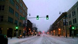 Driving in Downtown Springfield, IL Snow