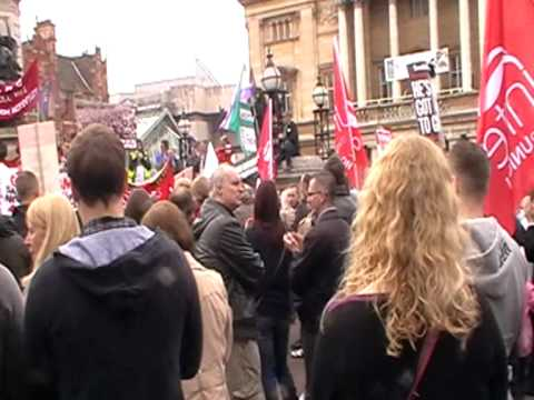 A protest in Hull against the cuts at BAE's factory at Brough