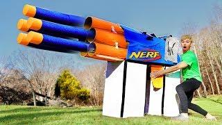 WORLDS BIGGEST CARDBOARD NERF GUN!! (EXTREME POWER)