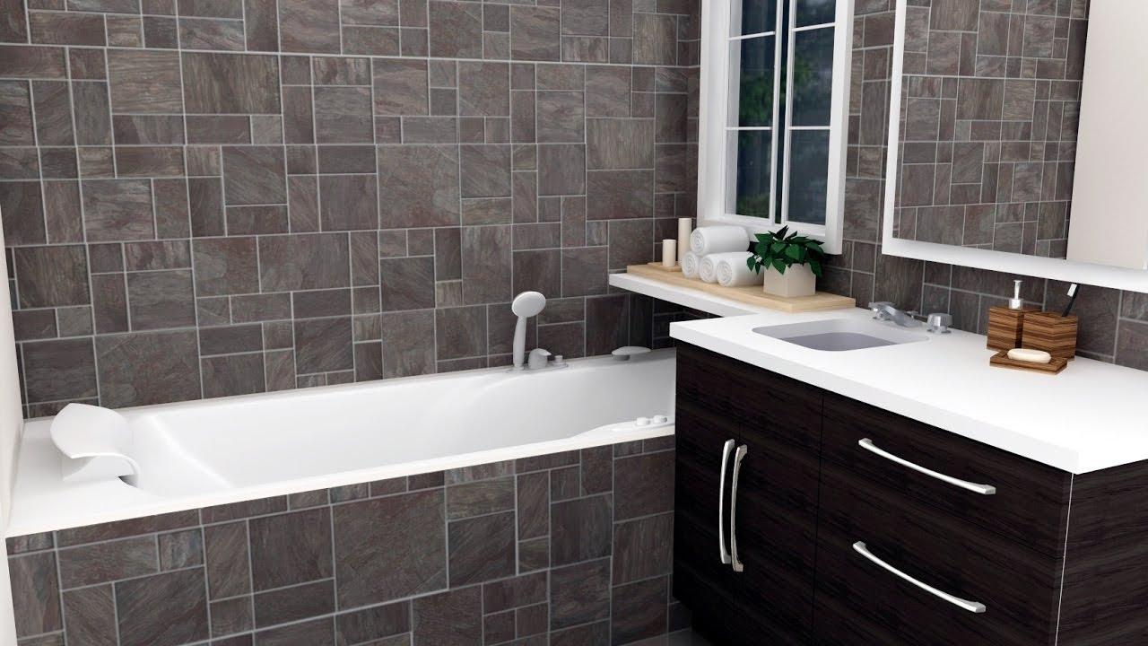 Gray tile bathrooms 2017