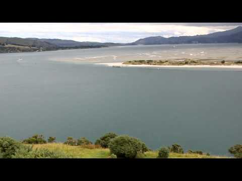 view from Otago Peninsula across the sound to Port Chalmers