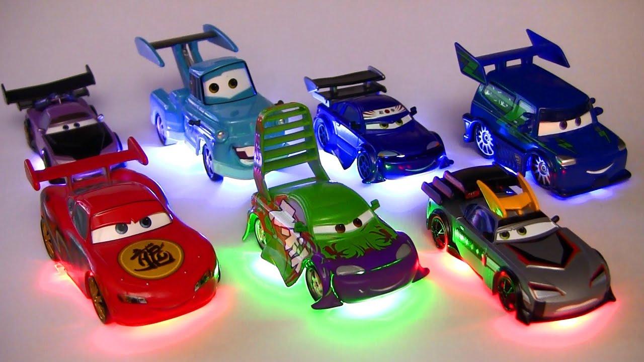Light Up Deluxe Die-Cast Set Tuners DJ WIngo Lightning McQueen Mater ...