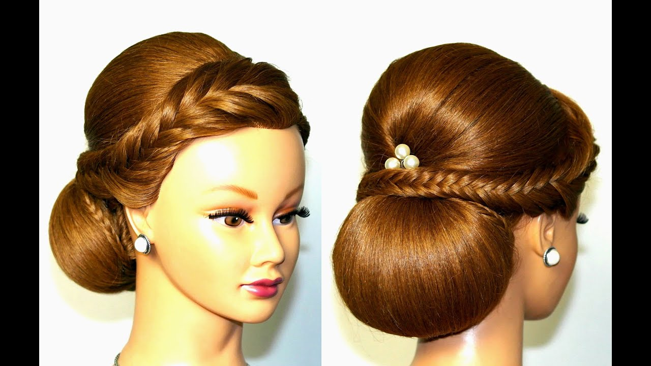 Wedding hairstyle for medium long hair, elegant updo. - YouTube