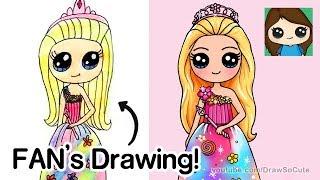 Drawing a FAN'S DRAWING | Barbie Princess