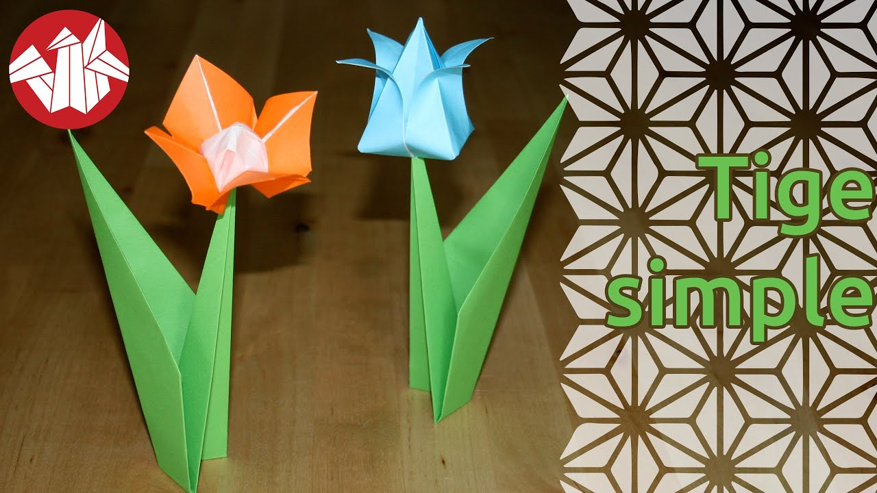 Origami tige simple pour fleur flower stem youtube - Youtube origami fleur ...