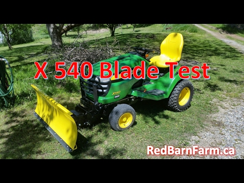 John Deere X540 Snow Plow Test w/o Chains
