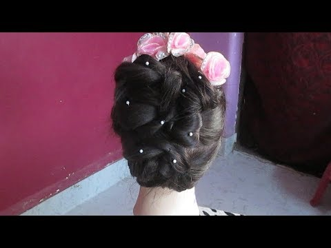Latest Easy Party Hairstyle Tutorial #Bridal hairstyle step by step Hair Tutorial