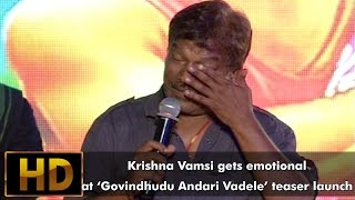 Krishna Vamsi gets emotional at GAV teaser launch || Govindudu Andarivadele