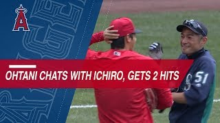 Ohtani chats with Ichiro, records RBI double