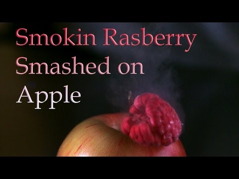 Smokin Rasberry Smashed on Apple In UltraSlo slow motion