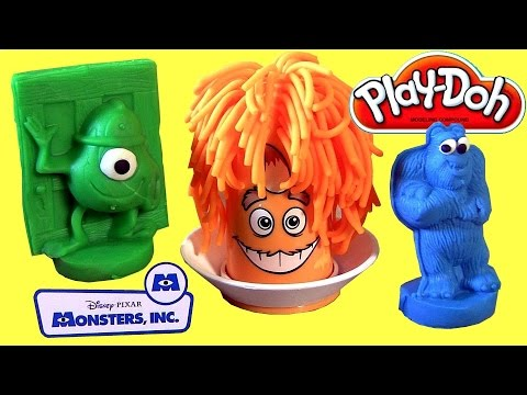 Play Doh Mold-A-Monster Set Disney Pixar Monsters INC. Sulley Mike George Fuzzy Pumper