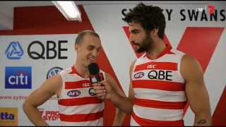 AFL Game Day 2015 - Tom Derickx the interviewer plus Josh P. Kennedy interview
