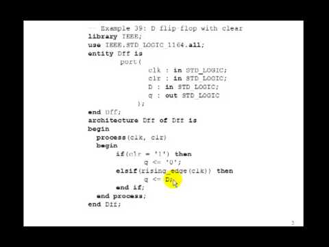Lesson 64 - Example 39: D Flip-Flops in VHDL