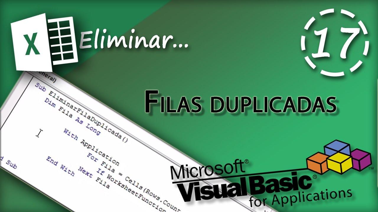 13. VBA Excel 2013 - Eliminar filas duplicadas en una hoja de cálculo ...