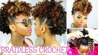 BRAIDLESS CROCHET | NO CORNROWS | CURLY CROCHET FAUX HAWK TUTORIAL | NATURAL HAIR UPDO |TASTEPINK
