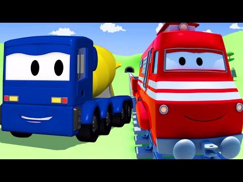 Troy lokomotywa i ciężarówki betonu w Miasto Samochodów | Samochody bajka o maszynach dla dzieci