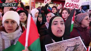 'Free Palestine': Protest against Trump's Jerusalem decision in Times Square
