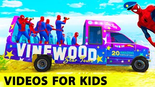 Download FUN COLOR BUS with Policeman Spiderman in Cars Cartoon for Kids and Children Nursery Rhymes Songs 3Gp Mp4