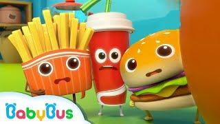 漢堡聯盟VS壞蛋披薩 | 最新美食兒歌 | 學顏色童謠 | 大灰狼動畫 | 奇妙救援隊卡通 | 寶寶巴士 | 奇奇 | BabyBus