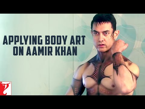 Applying Body Art On Aamir Khan - Dhoom:3 video