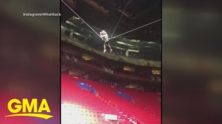 Pink's daughter shows off acrobatics during stadium tour l GMA Digital