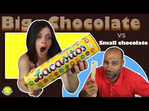 Big Chocolate vs Small Chocolate!! Chocolate Grande vs Chocolate Pequeño!! thumbnail