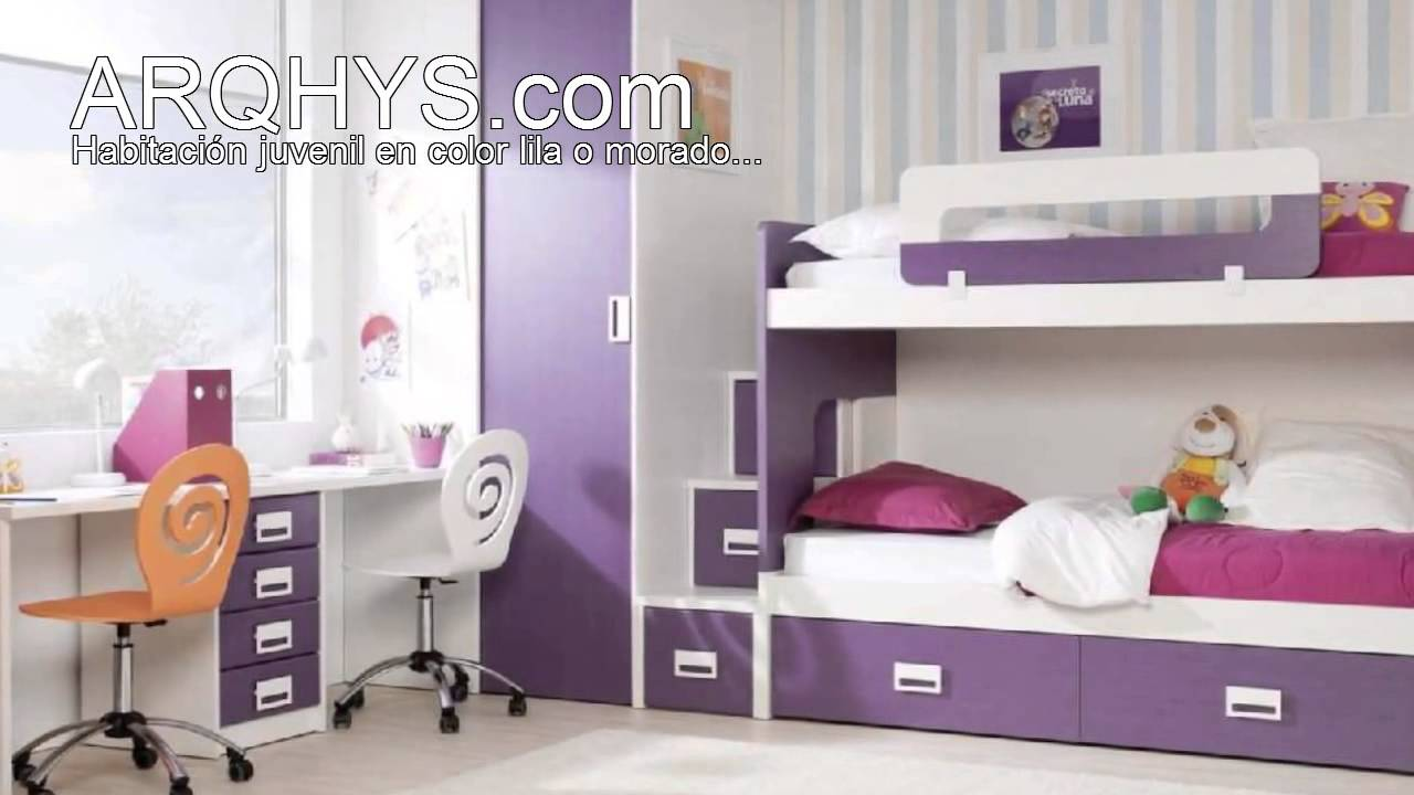 Habitaci n juvenil en color lila o morado youtube for Decoracion de cuartos para ninas de 9 anos