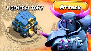 ATTACKING GENERAL TONY IN CLASH OF CLANS!! My Own Base!