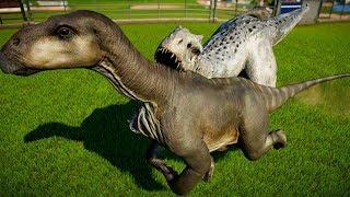 2 Indominus Rex Destroy Herd of 10 Iguanodon & 2 T Rex Fight! - Jurassic World Evolution
