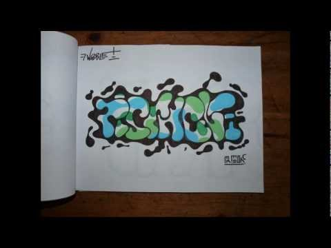 GRAFFITI BLACKBOOK #1 art sketches characters throw up letters bombing wildstyle how to wizard 2012