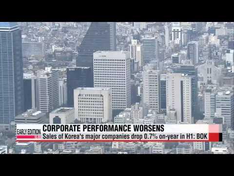 Sales figures of major companies drop 0.7% on-year in H1: BOK   상반기 기업 매출액, 금융위기