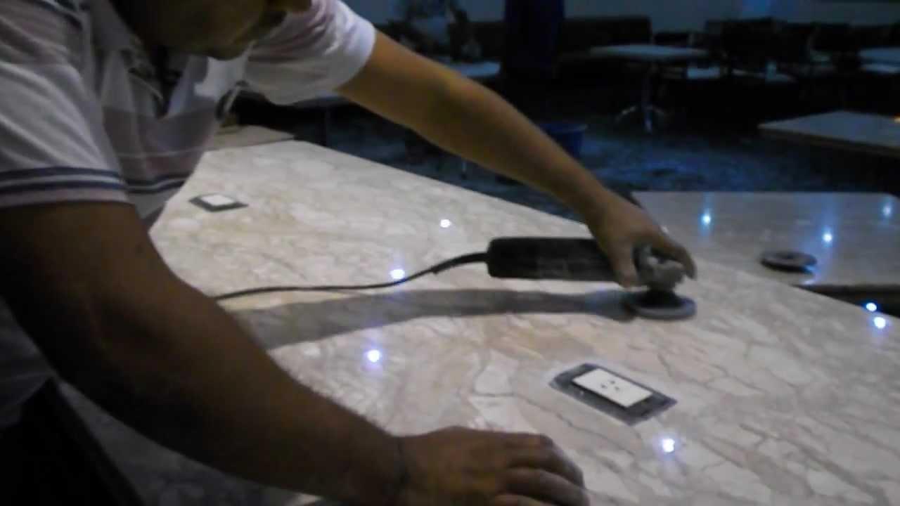 Polimento completo em marmore travertino - YouTube