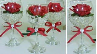 DIY   BLING DOLLAR TREE WINE GLASS DECOR   INEXPENSIVE DIY