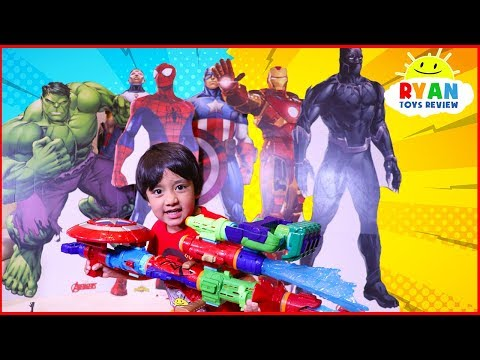 Ryan Pretend plays with Avengers Infinity War Superhero Toys Hide and Seek