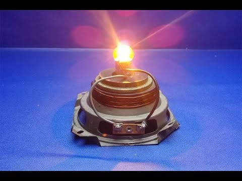 Free energy light bulb 12v  with speaker magnet - Very easy science experiment project thumbnail