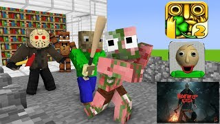 Monster School : BALDI'S BASIC VS TEMPLE RUN CHALLENGE - Minecraft Animation