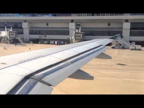 Frontier Airlines Airbus A319 pushback/taxi/takeoff from DFW Airport