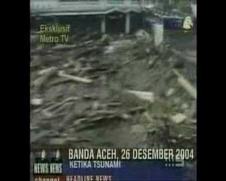 Tsunami in Banda Aceh Indonesia after Earthquake