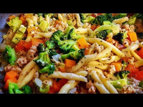Паста на Сковороде с Овощами и Фаршем. Как просто и вкусно приготовить Макароны в одной посуде.