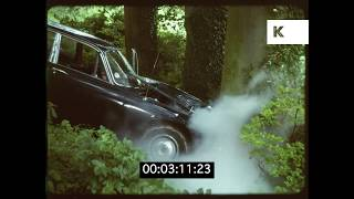 1970s/1980s Jaguar Crashes into Tree, Stunt Driving, HD from 35mm