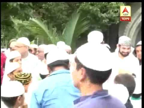 cricketer yusuf Pathan joins others on eid day prayer.