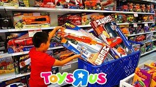 "Toys""R""Us Shopping For  NERF BIG BLASTERS | Jason Buys 9 Big Guns | Hail-Fire Mastodon Centurion"