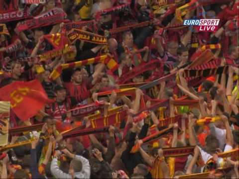Lens-Boulogne Les Corons fin de match entre supporters