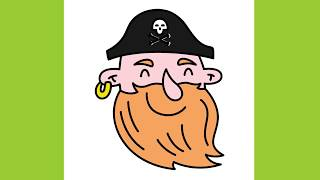 How to draw a Cute Pirate Emoji Easy