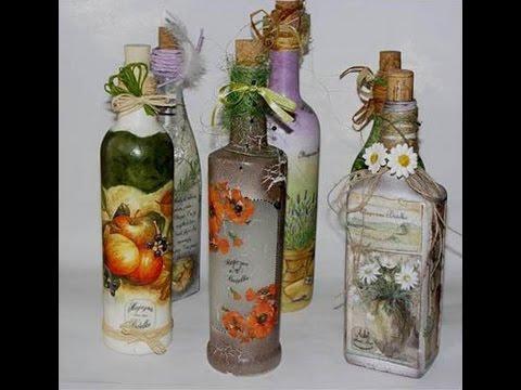 Как сделать декор на стеклянных бутылках